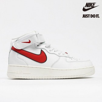 Nike Air Force 1 Mid Sail University Red White Black