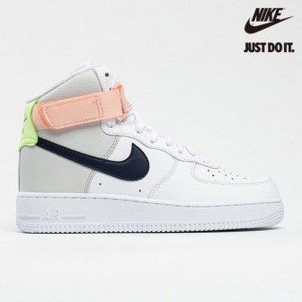 Nike Air Force 1 High White Midnight Navy Light Orange