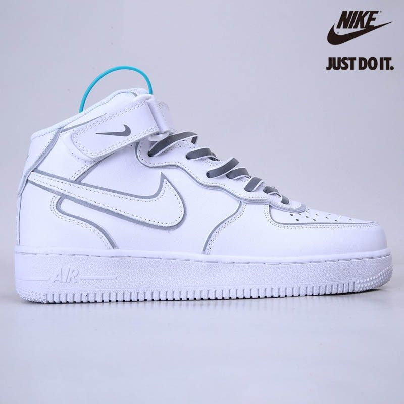 Nike Air Force 1 07 Mid White Silver Refletion - 369733-809