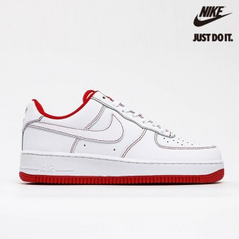 Nike Air Force 1 '07' Low Contrast Stitch - White University Red'