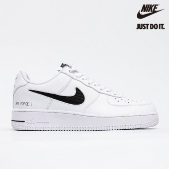 Nike Air Force 1 Low Cut Out Swoosh 'White Black'