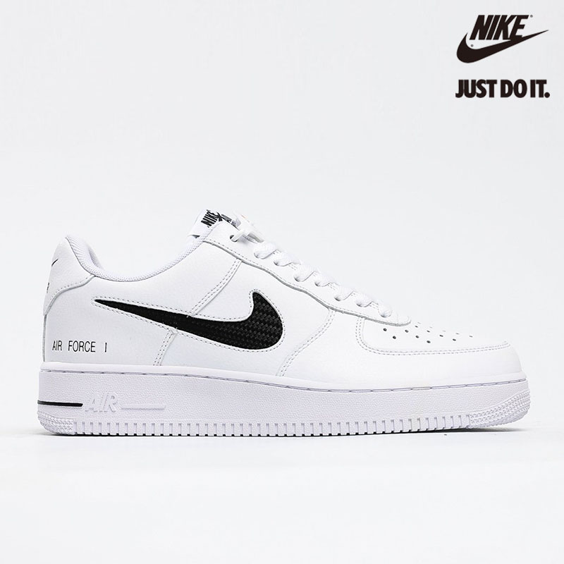 Nike Air Force 1 Low Cut Out Swoosh 'White Black' - CZ7377-100