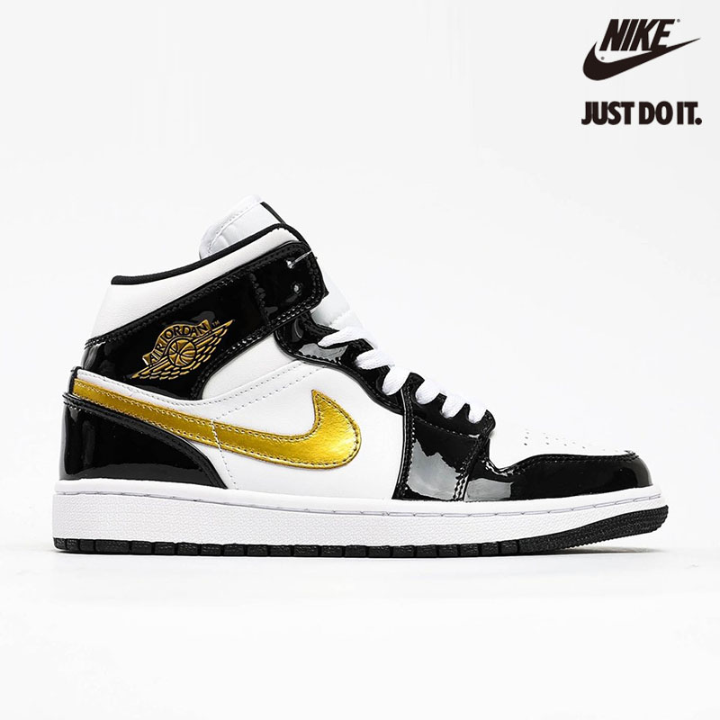 Nike Air Jordan 1 Mid Patent 'Black Gold' White Metallic - 852542-007
