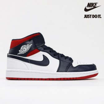 Air Jordan 1 Mid SE 'Olympic' White Midnight Navy Varsity Red