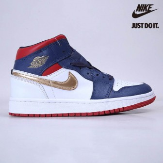 Air Jordan 1 Mid SE 'USA OLYMPIC' White/Navy/Gold