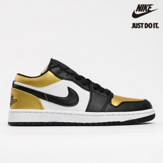 Air Jordan 1 Low Gs Gold Toe White Black