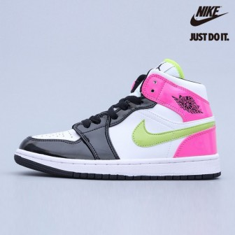 Air Jordan 1 Mid White Black Cyber Pink
