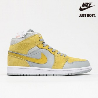 Air Jordan 1 Mid Mixed Textures Yellow 'Tan Grey'
