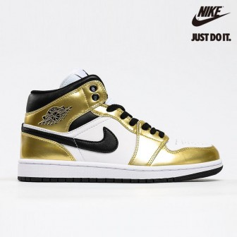 Air Jordan 1 Mid SE 'Metallic Gold' Black White