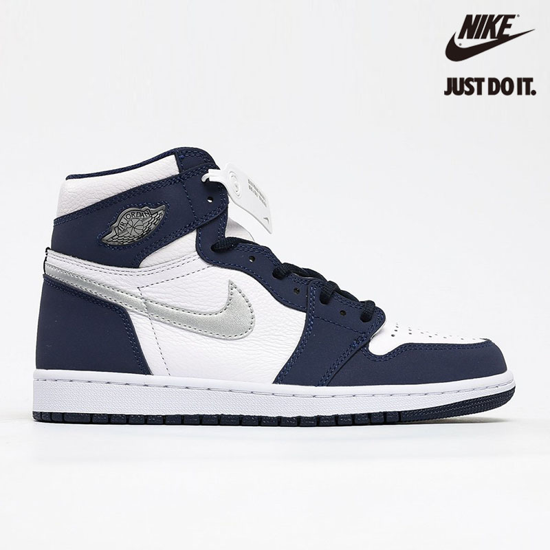 Air Jordan 1 Retro High co.JP White 'Midnight Navy' 2020 Metallic Silver - DC1788-100