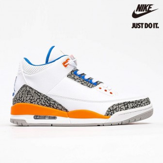 Air Jordan 3 Retro Knicks Rivals White Old Royal University Orange Tech Grey
