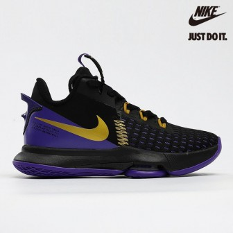 Nike Zoom LeBron Witness 5 EP Lakers Black Metallic Gold Fierce Purple