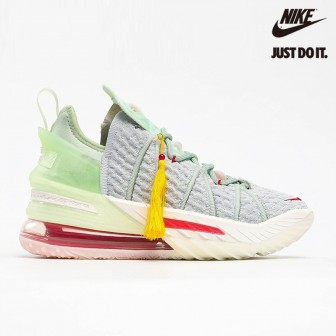 Nike LeBron 18 'Empire Jade' Pure Platinum Cream Grass Green University Red