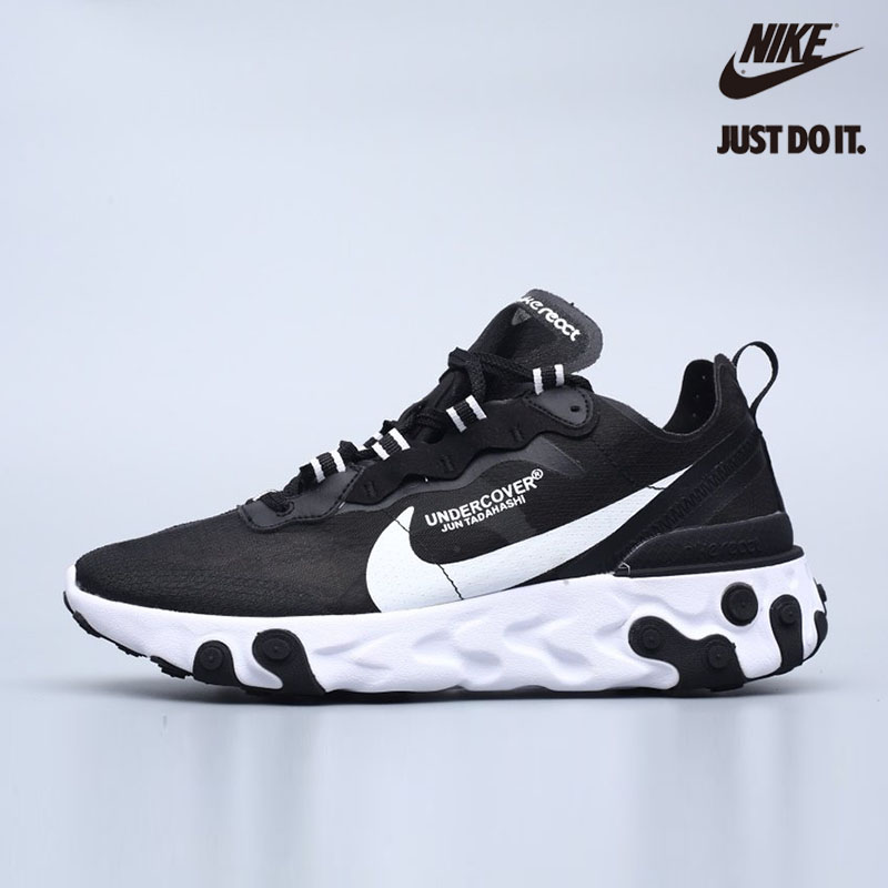 NIKE REACT ELEMENT 55 W BLACK & WHITE-BQ2728‑003